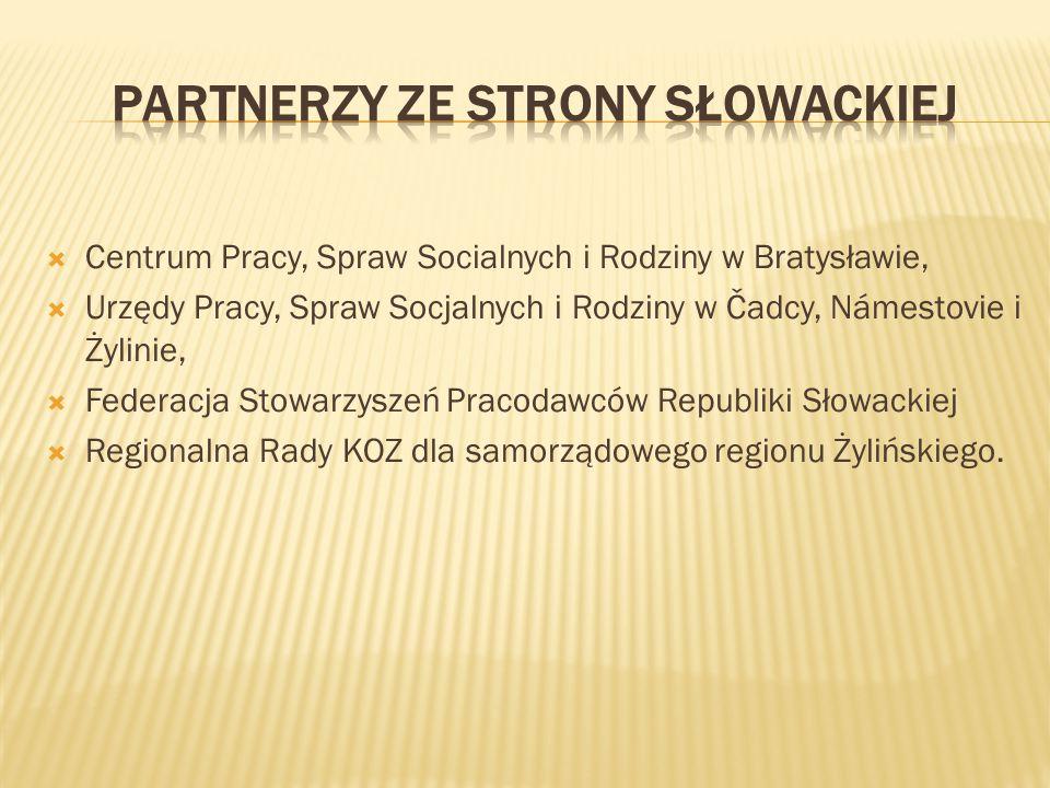  Centrum Pracy, Spraw Socialnych i Rodziny w Bratysławie,  Urzędy Pracy, Spraw Socjalnych i Rodziny w Čadcy, Námestovie i Żylinie,  Federacja Stowa