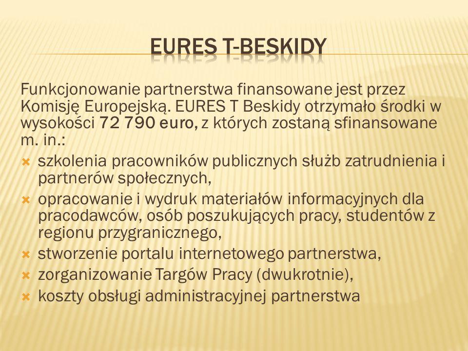 Funkcjonowanie partnerstwa finansowane jest przez Komisję Europejską. EURES T Beskidy otrzymało środki w wysokości 72 790 euro, z których zostaną sfin