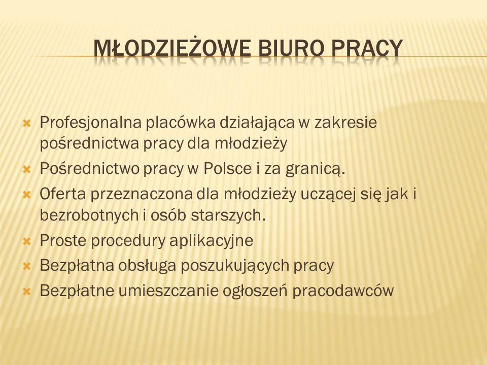  Profesjonalna placówka działająca w zakresie pośrednictwa pracy dla młodzieży  Pośrednictwo pracy w Polsce i za granicą.  Oferta przeznaczona dla