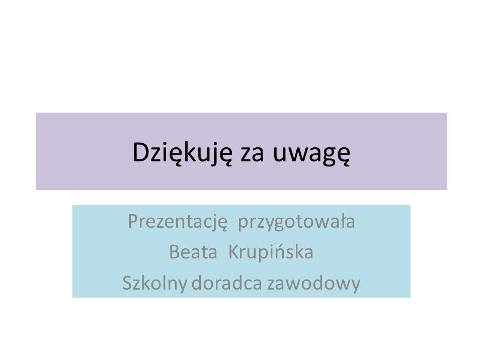 Dziękuję za uwagę Prezentację przygotowała Beata Krupińska Szkolny doradca zawodowy