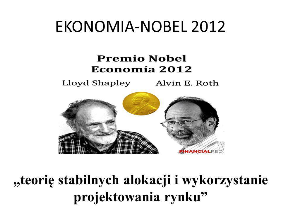 """EKONOMIA-NOBEL 2012 """"teorię stabilnych alokacji i wykorzystanie projektowania rynku"""""""