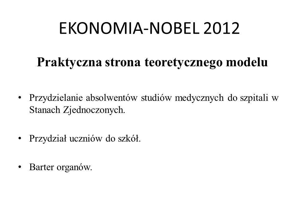 EKONOMIA-NOBEL 2012 Praktyczna strona teoretycznego modelu Przydzielanie absolwentów studiów medycznych do szpitali w Stanach Zjednoczonych. Przydział