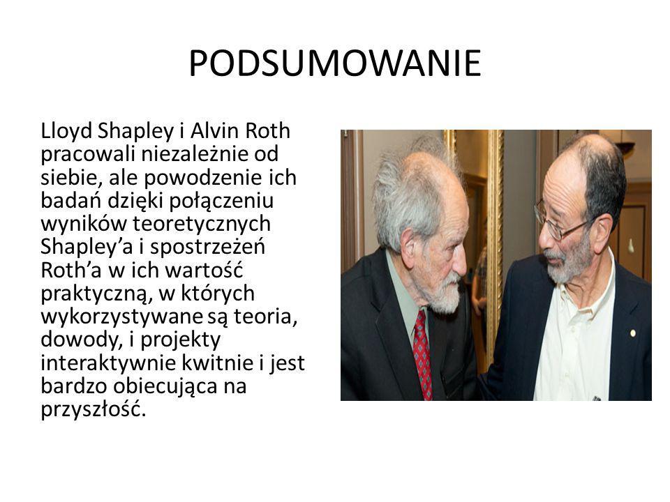 PODSUMOWANIE Lloyd Shapley i Alvin Roth pracowali niezależnie od siebie, ale powodzenie ich badań dzięki połączeniu wyników teoretycznych Shapley'a i