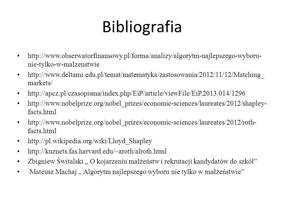 Bibliografia http://www.obserwatorfinansowy.pl/forma/analizy/algorytm-najlepszego-wyboru- nie-tylko-w-malzenstwie http://www.deltami.edu.pl/temat/mate