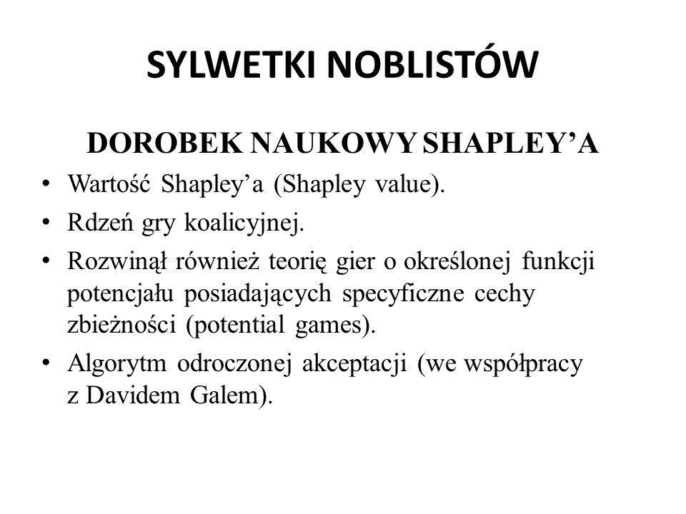 SYLWETKI NOBLISTÓW DOROBEK NAUKOWY SHAPLEY'A Wartość Shapley'a (Shapley value). Rdzeń gry koalicyjnej. Rozwinął również teorię gier o określonej funkc