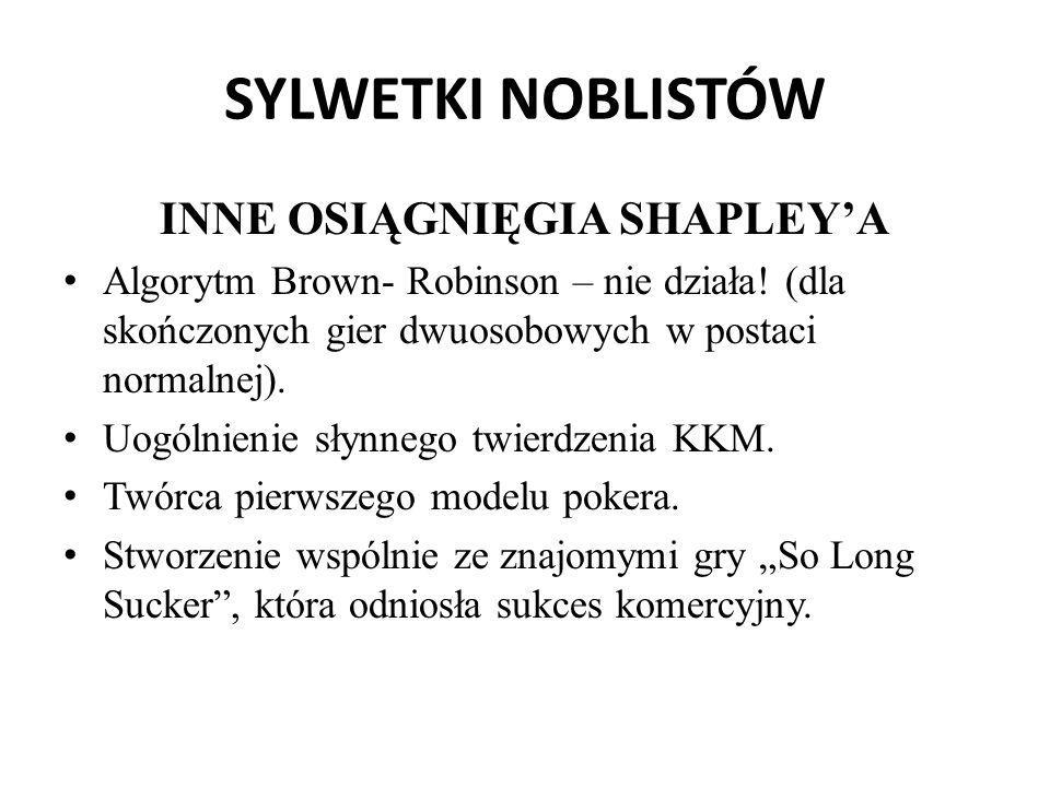 SYLWETKI NOBLISTÓW INNE OSIĄGNIĘGIA SHAPLEY'A Algorytm Brown- Robinson – nie działa! (dla skończonych gier dwuosobowych w postaci normalnej). Uogólnie