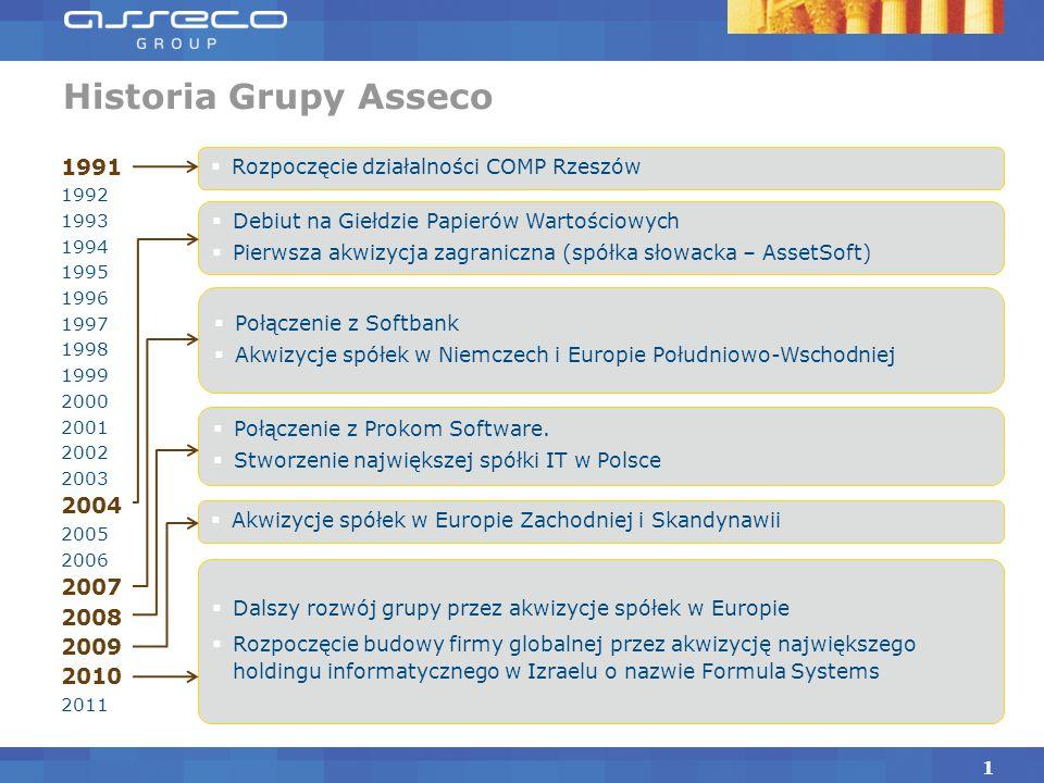 Historia Grupy Asseco 1 1991 1992 1993 1994 1995 1996 1997 1998 1999 2000 2001 2002 2003 2004 2005 2006 2007 2008 2009 2010 2011  Debiut na Giełdzie