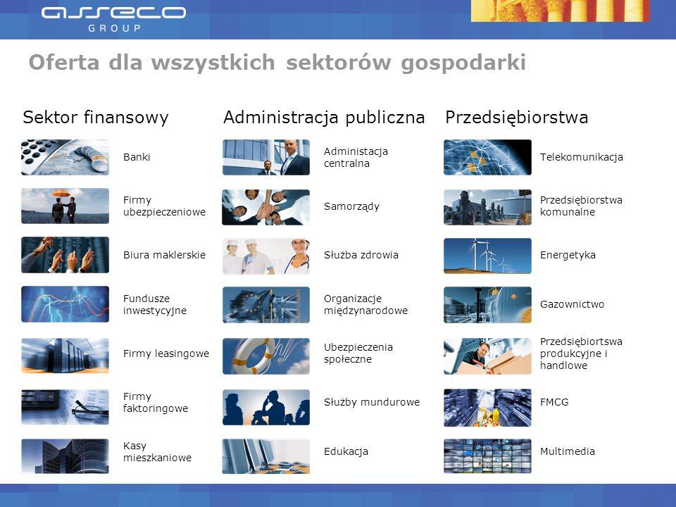 Sektor finansowyAdministracja publicznaPrzedsiębiorstwa Banki Administacja centralna Telekomunikacja Firmy ubezpieczeniowe Samorządy Przedsiębiorstwa