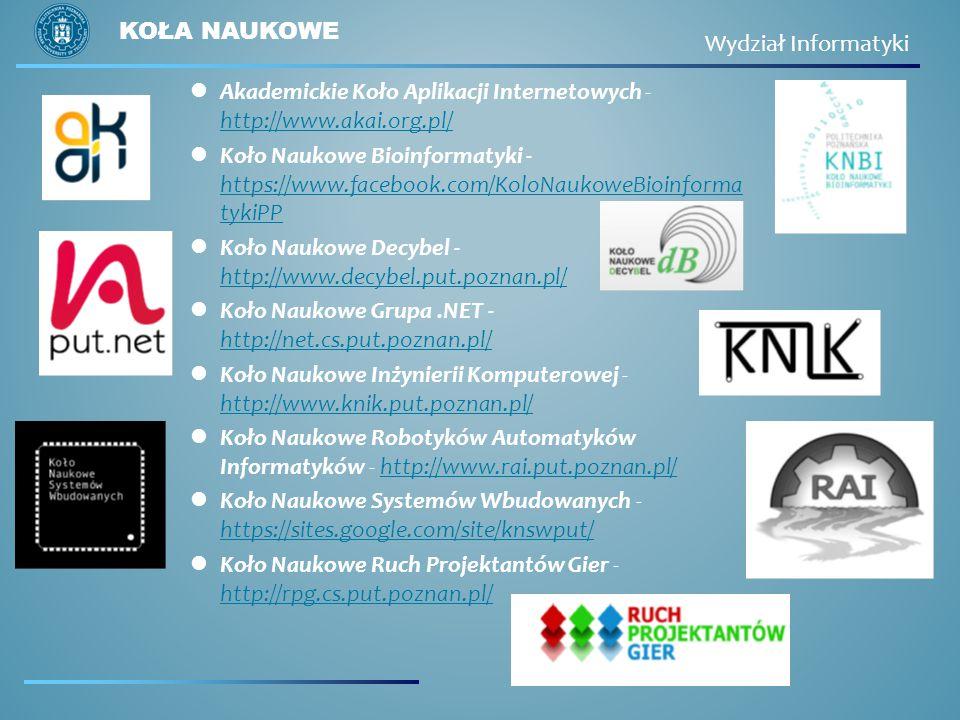 Akademickie Koło Aplikacji Internetowych - http://www.akai.org.pl/ http://www.akai.org.pl/ Koło Naukowe Bioinformatyki - https://www.facebook.com/KoloNaukoweBioinforma tykiPP https://www.facebook.com/KoloNaukoweBioinforma tykiPP Koło Naukowe Decybel - http://www.decybel.put.poznan.pl/ http://www.decybel.put.poznan.pl/ Koło Naukowe Grupa.NET - http://net.cs.put.poznan.pl/ http://net.cs.put.poznan.pl/ Koło Naukowe Inżynierii Komputerowej - http://www.knik.put.poznan.pl/ http://www.knik.put.poznan.pl/ Koło Naukowe Robotyków Automatyków Informatyków - http://www.rai.put.poznan.pl/http://www.rai.put.poznan.pl/ Koło Naukowe Systemów Wbudowanych - https://sites.google.com/site/knswput/ https://sites.google.com/site/knswput/ Koło Naukowe Ruch Projektantów Gier - http://rpg.cs.put.poznan.pl/ http://rpg.cs.put.poznan.pl/ KOŁA NAUKOWE Wydział Informatyki