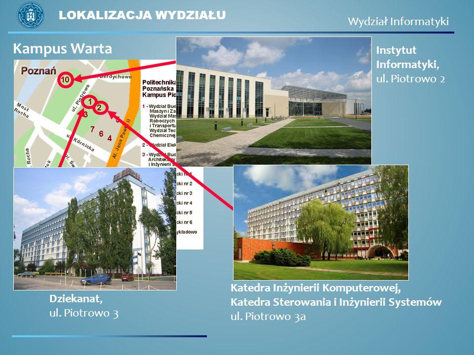 LOKALIZACJA WYDZIAŁU Instytut Informatyki, ul.Piotrowo 2 Kampus Warta Dziekanat, ul.