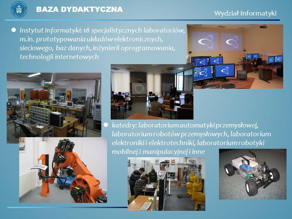 Instytut Informatyki: 18 specjalistycznych laboratoriów, m.in. prototypowania układów elektronicznych, sieciowego, baz danych, inżynierii oprogramowan