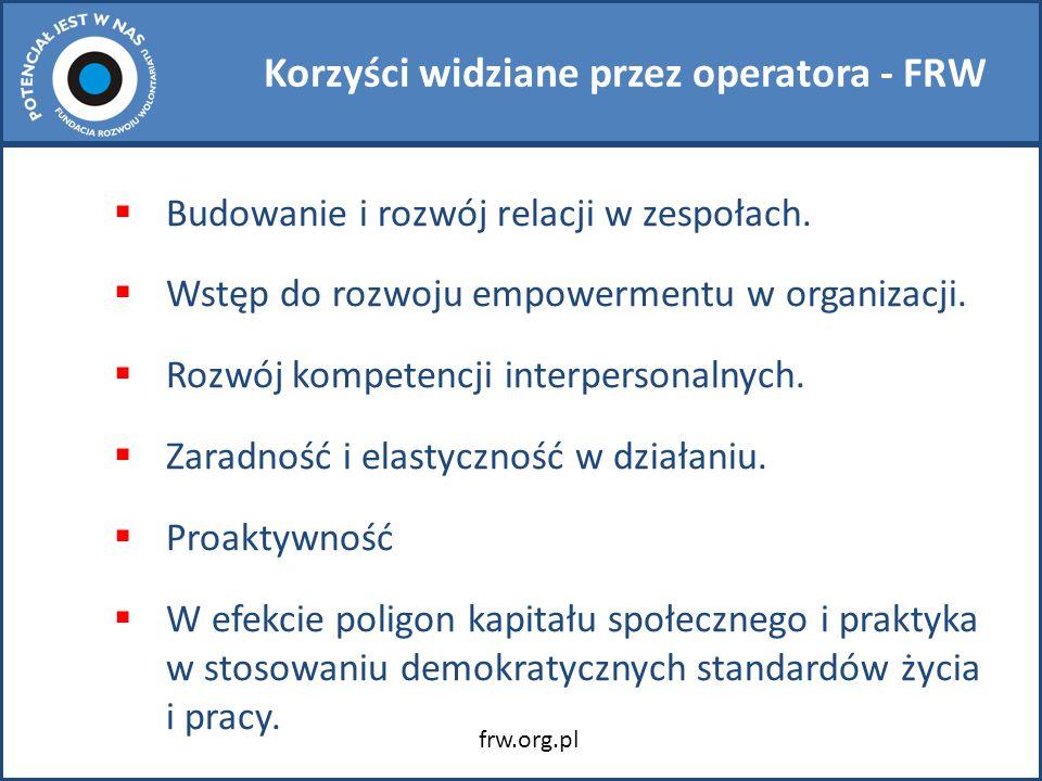Korzyści widziane przez operatora - FRW  Budowanie i rozwój relacji w zespołach.