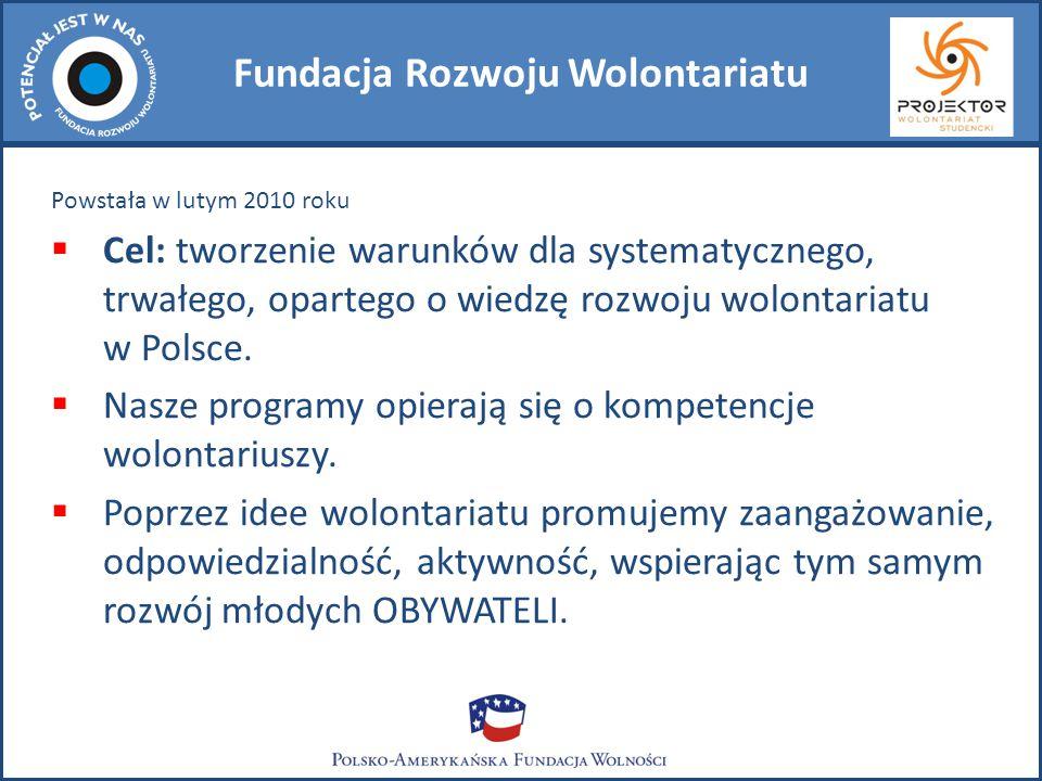 Fundacja Rozwoju Wolontariatu Powstała w lutym 2010 roku  Cel: tworzenie warunków dla systematycznego, trwałego, opartego o wiedzę rozwoju wolontariatu w Polsce.