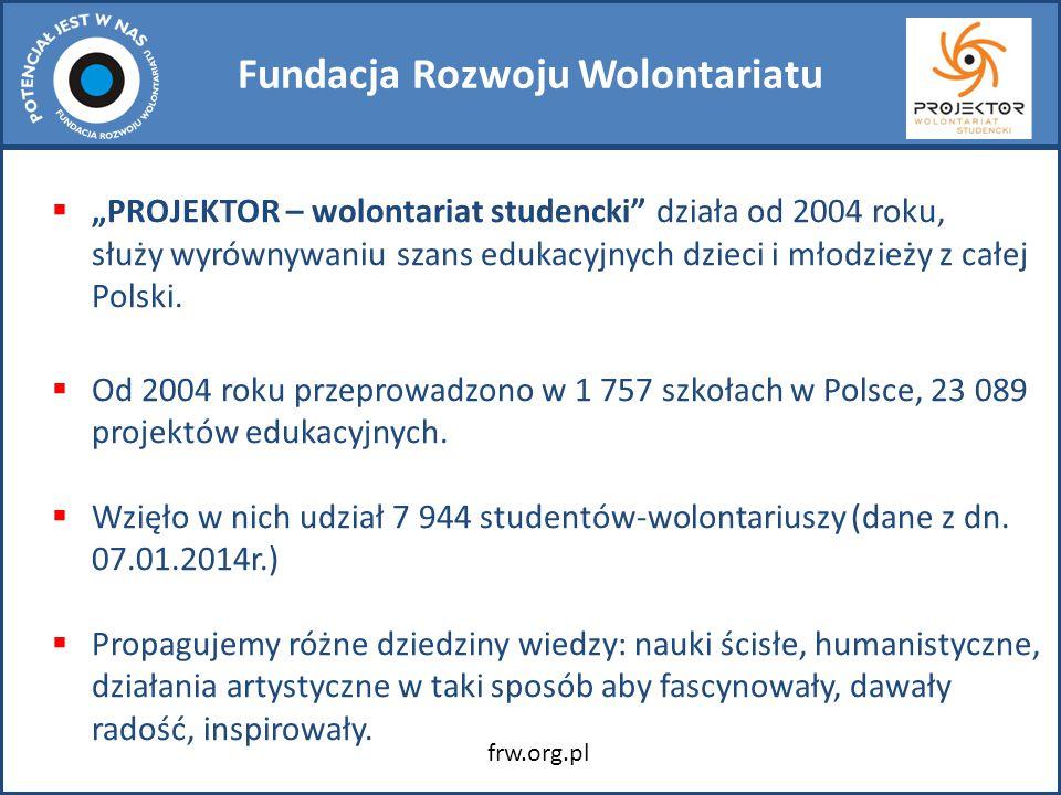 """Fundacja Rozwoju Wolontariatu  """"PROJEKTOR – wolontariat studencki działa od 2004 roku, służy wyrównywaniu szans edukacyjnych dzieci i młodzieży z całej Polski."""
