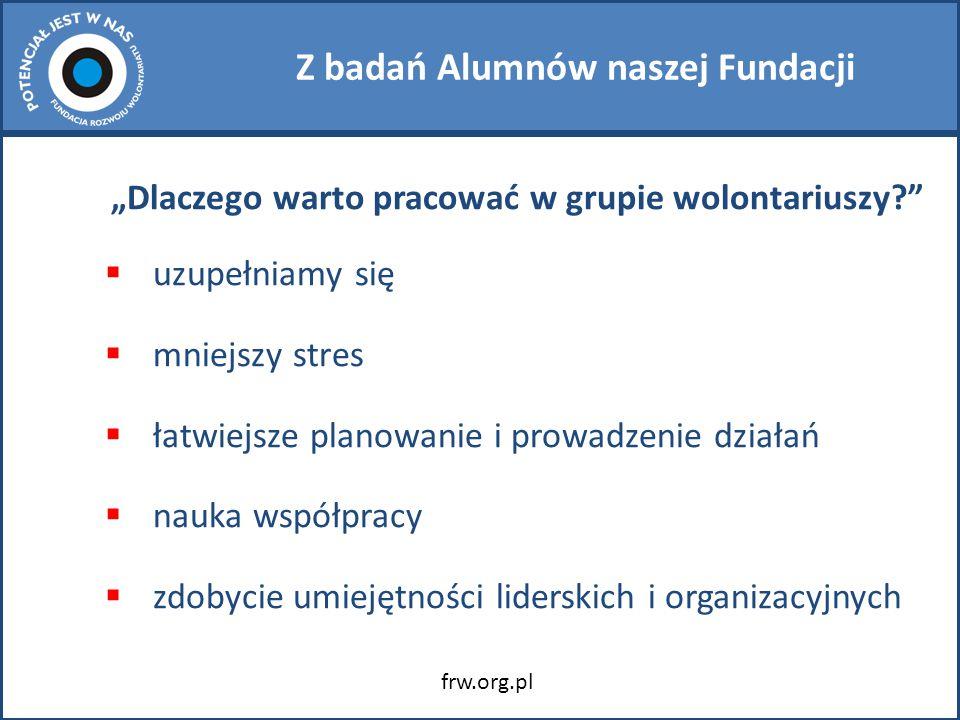 """Z badań Alumnów naszej Fundacji """"Dlaczego warto pracować w grupie wolontariuszy?  uzupełniamy się  mniejszy stres  łatwiejsze planowanie i prowadzenie działań  nauka współpracy  zdobycie umiejętności liderskich i organizacyjnych frw.org.pl"""