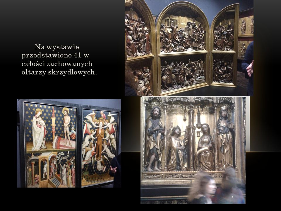 Na wystawie przedstawiono 41 w całości zachowanych ołtarzy skrzydłowych.