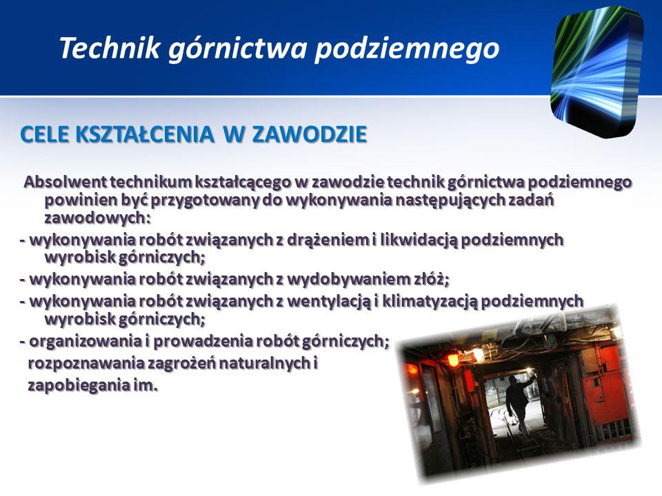 CELE KSZTAŁCENIA W ZAWODZIE Absolwent technikum kształcącego w zawodzie technik górnictwa podziemnego powinien być przygotowany do wykonywania następujących zadań zawodowych: Absolwent technikum kształcącego w zawodzie technik górnictwa podziemnego powinien być przygotowany do wykonywania następujących zadań zawodowych: - wykonywania robót związanych z drążeniem i likwidacją podziemnych wyrobisk górniczych; - wykonywania robót związanych z wydobywaniem złóż; - wykonywania robót związanych z wentylacją i klimatyzacją podziemnych wyrobisk górniczych; - organizowania i prowadzenia robót górniczych; rozpoznawania zagrożeń naturalnych i rozpoznawania zagrożeń naturalnych i zapobiegania im.