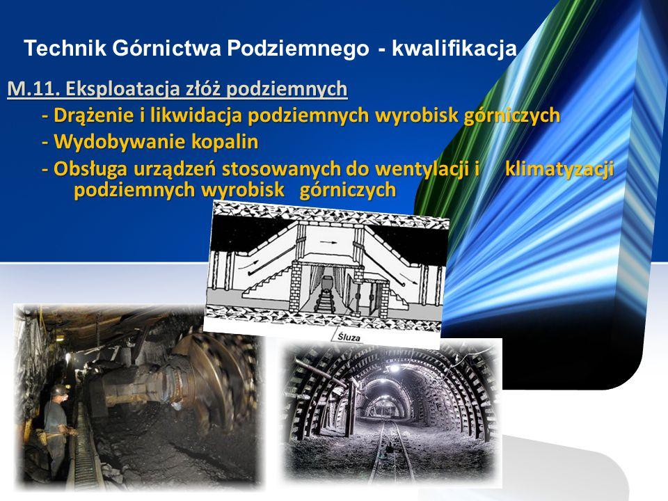 Technik Górnictwa Podziemnego - kwalifikacja M.11. Eksploatacja złóż podziemnych - Drążenie i likwidacja podziemnych wyrobisk górniczych - Drążenie i