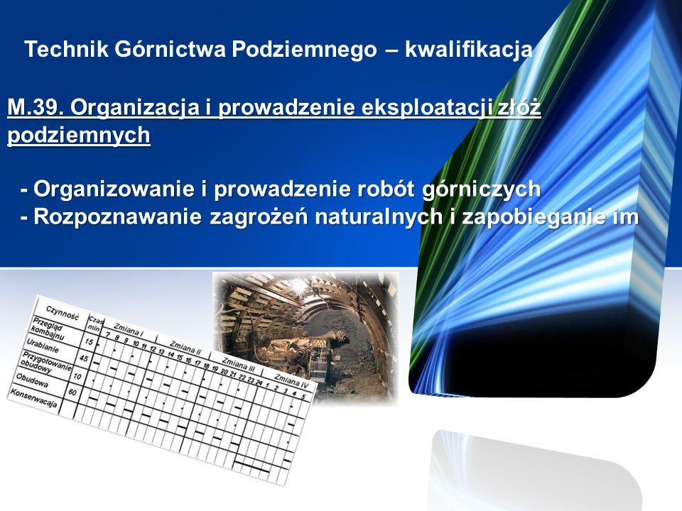 Technik Górnictwa Podziemnego – kwalifikacja M.39. Organizacja i prowadzenie eksploatacji złóż podziemnych - Organizowanie i prowadzenie robót górnicz