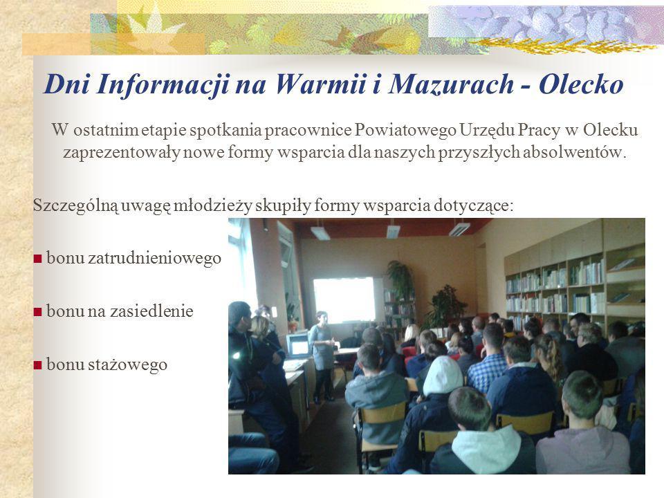 W ostatnim etapie spotkania pracownice Powiatowego Urzędu Pracy w Olecku zaprezentowały nowe formy wsparcia dla naszych przyszłych absolwentów.