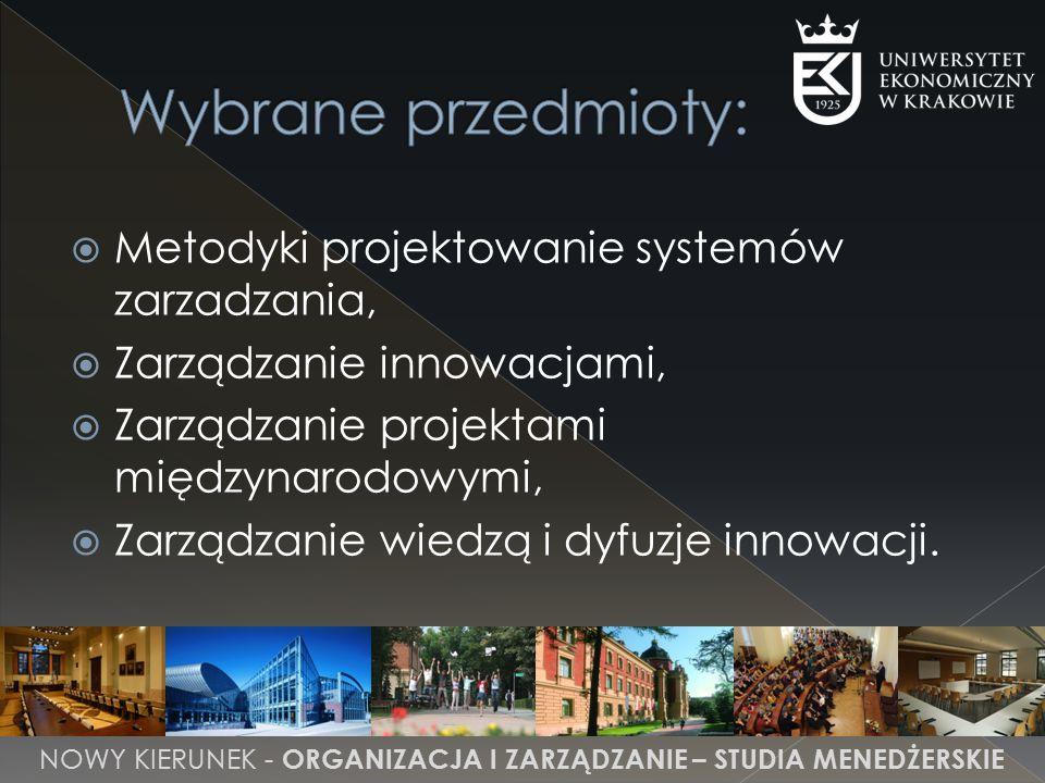 Metodyki projektowanie systemów zarzadzania,  Zarządzanie innowacjami,  Zarządzanie projektami międzynarodowymi,  Zarządzanie wiedzą i dyfuzje innowacji.