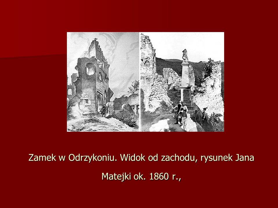 Zamek w Odrzykoniu. Widok od zachodu, rysunek Jana Matejki ok. 1860 r.,