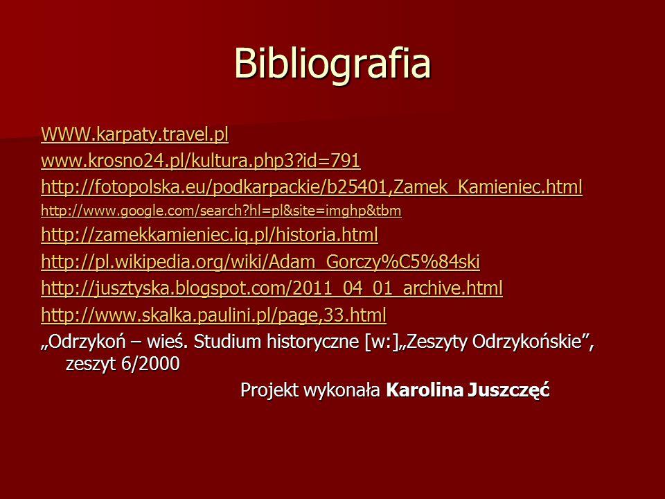 Bibliografia WWW.karpaty.travel.pl www.krosno24.pl/kultura.php3?id=791 http://fotopolska.eu/podkarpackie/b25401,Zamek_Kamieniec.html http://www.google