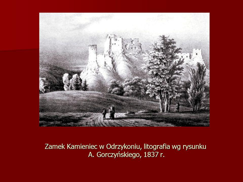 Zamek Kamieniec w Odrzykoniu, litografia wg rysunku A. Gorczyńskiego, 1837 r.