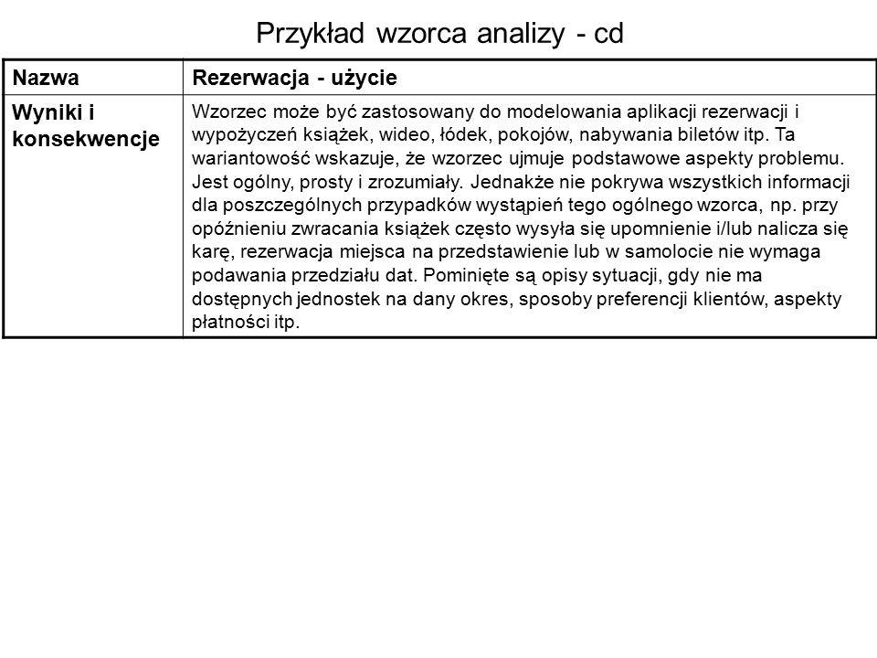 Przykład wzorca analizy - cd NazwaRezerwacja - użycie Wyniki i konsekwencje Wzorzec może być zastosowany do modelowania aplikacji rezerwacji i wypożyczeń książek, wideo, łódek, pokojów, nabywania biletów itp.