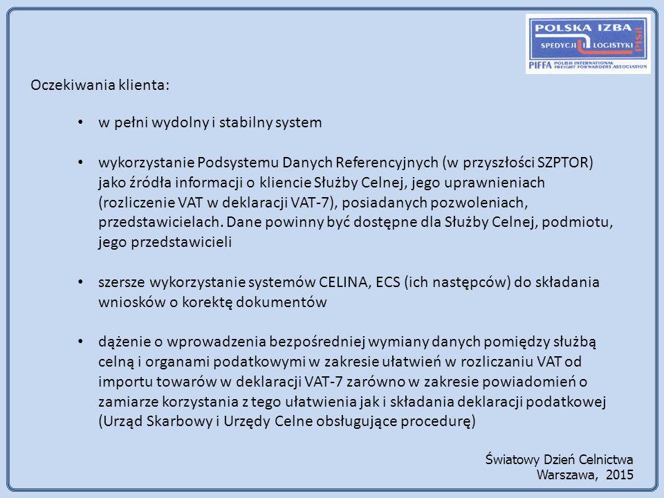 Oczekiwania klienta: w pełni wydolny i stabilny system wykorzystanie Podsystemu Danych Referencyjnych (w przyszłości SZPTOR) jako źródła informacji o kliencie Służby Celnej, jego uprawnieniach (rozliczenie VAT w deklaracji VAT-7), posiadanych pozwoleniach, przedstawicielach.