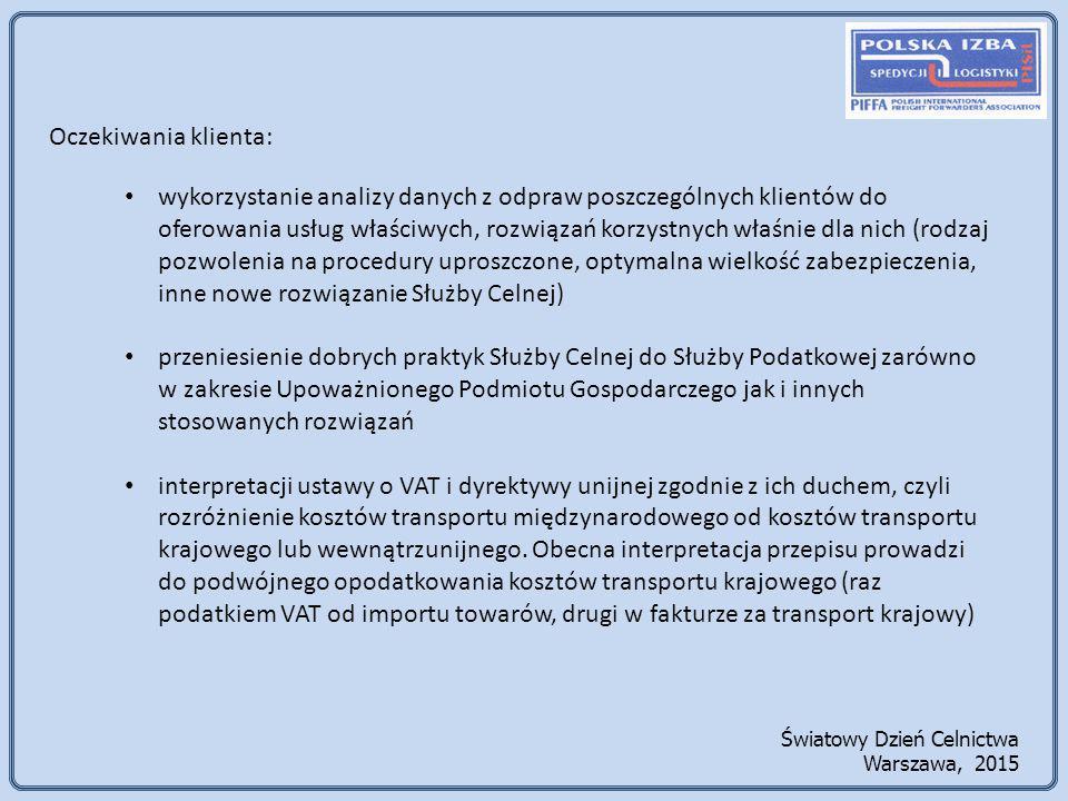 Oczekiwania klienta: wykorzystanie analizy danych z odpraw poszczególnych klientów do oferowania usług właściwych, rozwiązań korzystnych właśnie dla nich (rodzaj pozwolenia na procedury uproszczone, optymalna wielkość zabezpieczenia, inne nowe rozwiązanie Służby Celnej) przeniesienie dobrych praktyk Służby Celnej do Służby Podatkowej zarówno w zakresie Upoważnionego Podmiotu Gospodarczego jak i innych stosowanych rozwiązań interpretacji ustawy o VAT i dyrektywy unijnej zgodnie z ich duchem, czyli rozróżnienie kosztów transportu międzynarodowego od kosztów transportu krajowego lub wewnątrzunijnego.