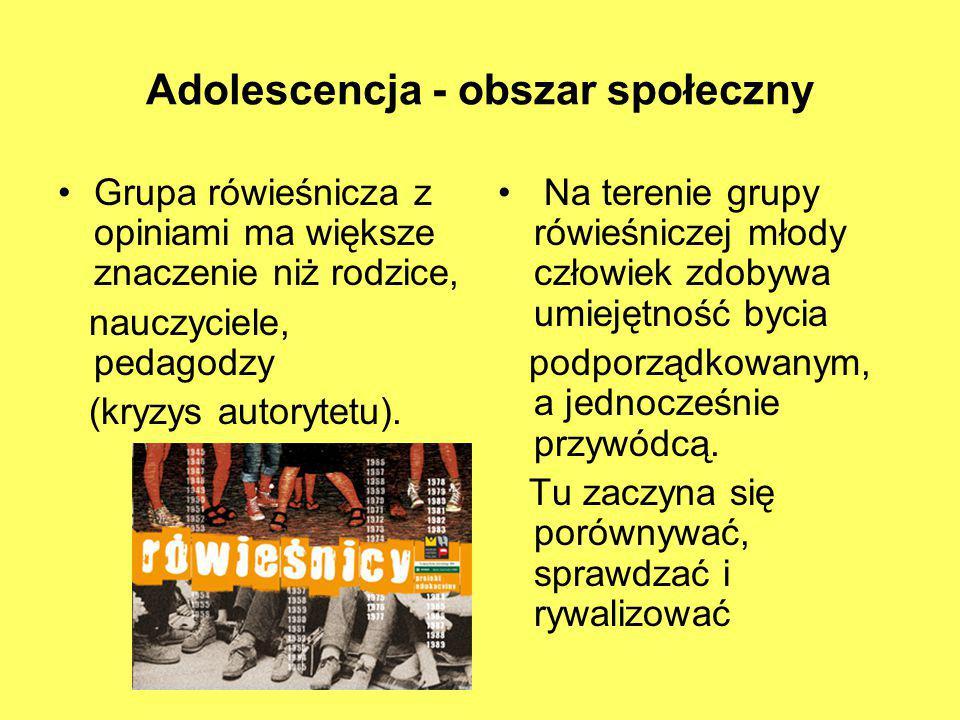Adolescencja - obszar społeczny Grupa rówieśnicza z opiniami ma większe znaczenie niż rodzice, nauczyciele, pedagodzy (kryzys autorytetu). Na terenie