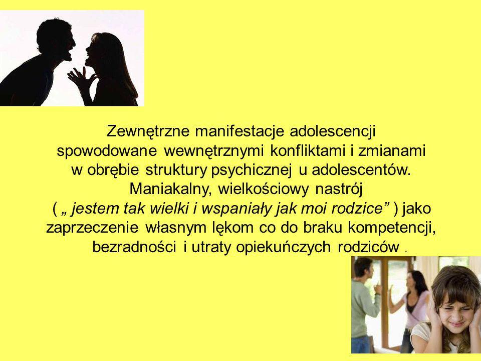 Zewnętrzne manifestacje adolescencji spowodowane wewnętrznymi konfliktami i zmianami w obrębie struktury psychicznej u adolescentów. Maniakalny, wielk