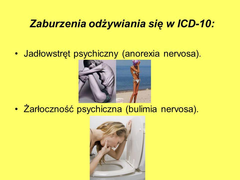 Zaburzenia odżywiania się w ICD-10: Jadłowstręt psychiczny (anorexia nervosa). Żarłoczność psychiczna (bulimia nervosa).