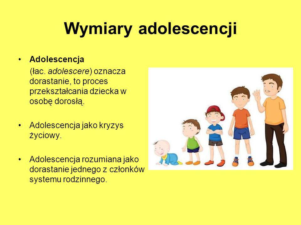 Wymiary adolescencji Adolescencja (łac. adolescere) oznacza dorastanie, to proces przekształcania dziecka w osobę dorosłą. Adolescencja jako kryzys ży