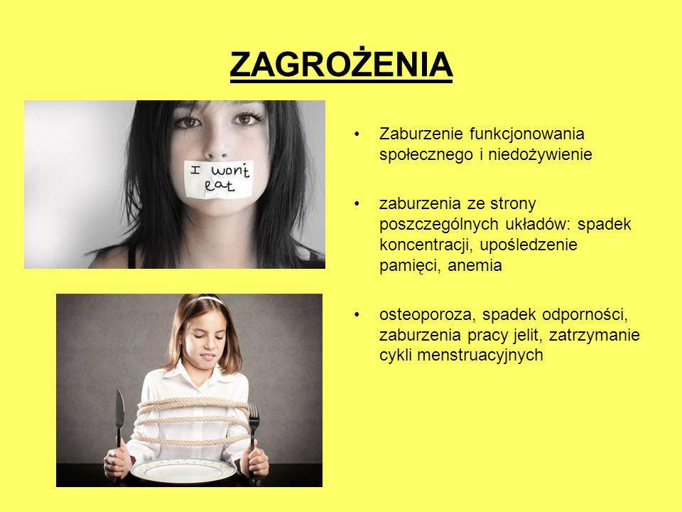 ZAGROŻENIA Zaburzenie funkcjonowania społecznego i niedożywienie zaburzenia ze strony poszczególnych układów: spadek koncentracji, upośledzenie pamięc