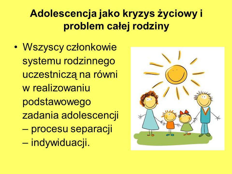 Adolescencja jako kryzys życiowy i problem całej rodziny Wszyscy członkowie systemu rodzinnego uczestniczą na równi w realizowaniu podstawowego zadani