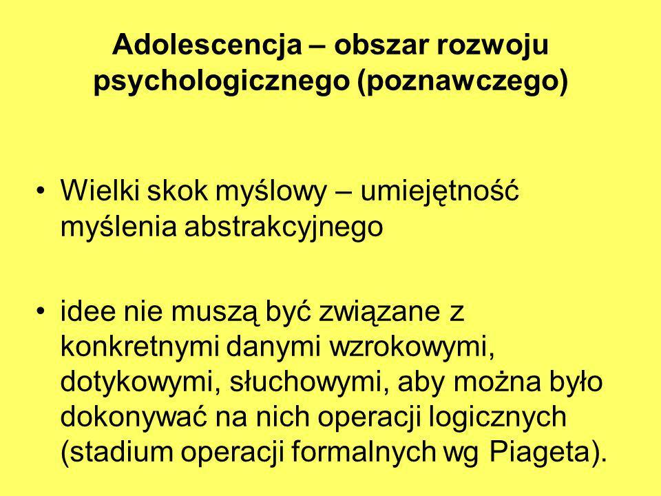 Adolescencja – obszar rozwoju psychologicznego (poznawczego) Wielki skok myślowy – umiejętność myślenia abstrakcyjnego idee nie muszą być związane z k