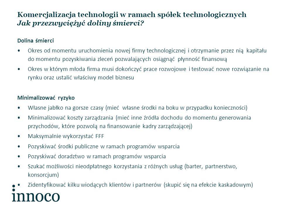 Komercjalizacja technologii w ramach spółek technologicznych Jak przezwyciężyć doliny śmierci.