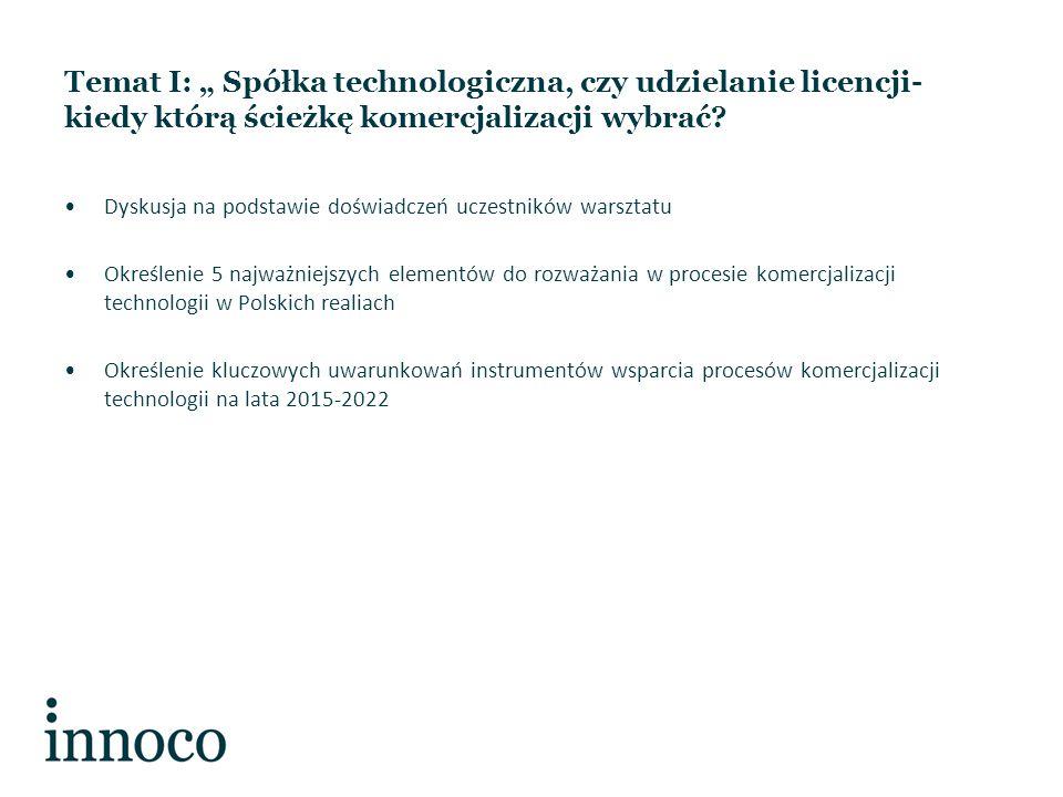 """Temat I: """" Spółka technologiczna, czy udzielanie licencji- kiedy którą ścieżkę komercjalizacji wybrać."""
