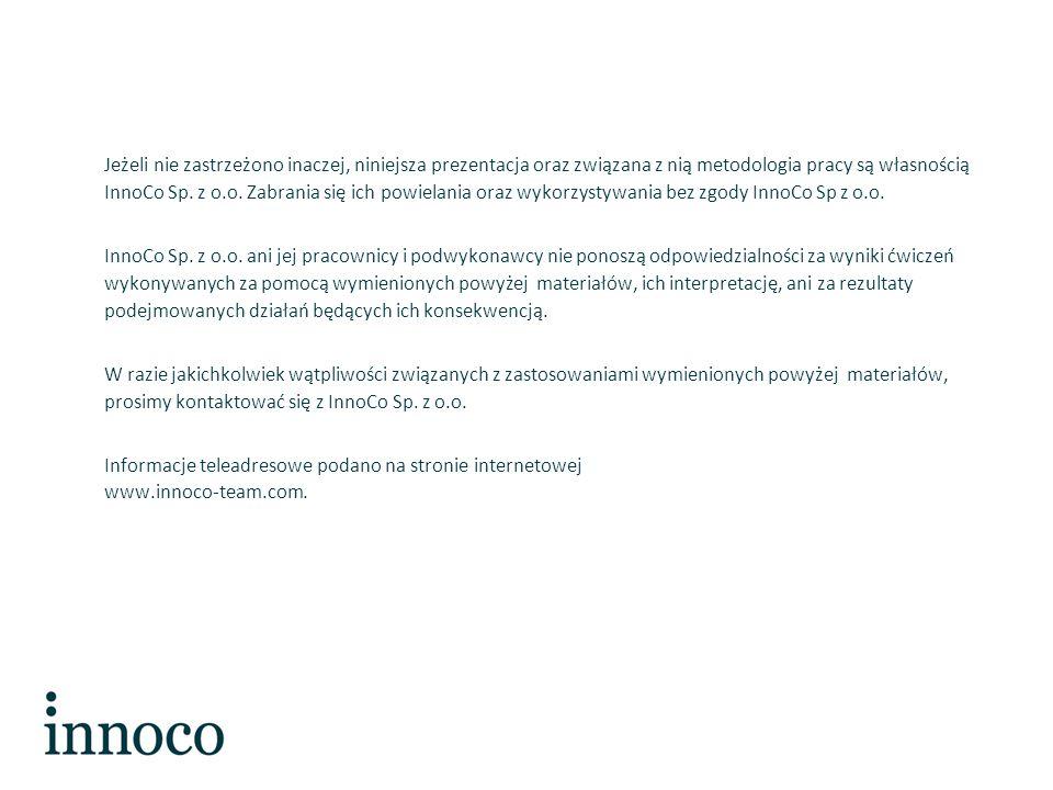 Jeżeli nie zastrzeżono inaczej, niniejsza prezentacja oraz związana z nią metodologia pracy są własnością InnoCo Sp.