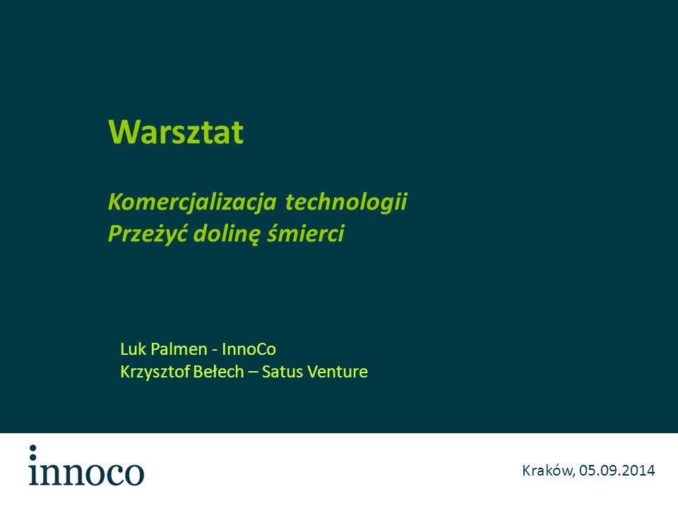 Kraków, 05.09.2014 Luk Palmen - InnoCo Krzysztof Bełech – Satus Venture Warsztat Komercjalizacja technologii Przeżyć dolinę śmierci