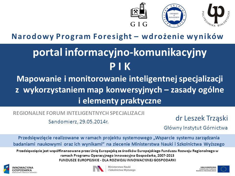 Przedsięwzięcie jest współfinansowane przez Unię Europejską ze środków Europejskiego Funduszu Rozwoju Regionalnego w ramach Programu Operacyjnego Innowacyjna Gospodarka, 2007-2013 FUNDUSZE EUROPEJSKIE - DLA ROZWOJU INNOWACYJNEJ GOSPODARKI Narodowy Program Foresight – wdrożenie wyników portal informacyjno-komunikacyjny P I K Mapowanie i monitorowanie inteligentnej specjalizacji z wykorzystaniem map konwersyjnych – zasady ogólne i elementy praktyczne dr Leszek Trząski Główny Instytut Górnictwa REGIONALNE FORUM INTELIGENTNYCH SPECJALIZACJI Sandomierz, 29.05.2014r.