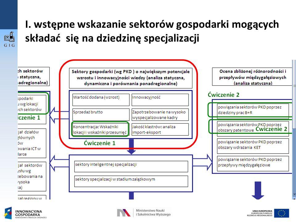 I. wstępne wskazanie sektorów gospodarki mogących składać się na dziedzinę specjalizacji