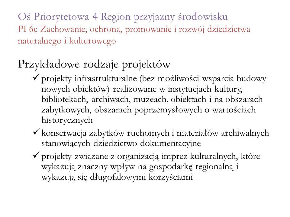 Oś Priorytetowa 4 Region przyjazny środowisku PI 6c Zachowanie, ochrona, promowanie i rozwój dziedzictwa naturalnego i kulturowego Przykładowe rodzaje