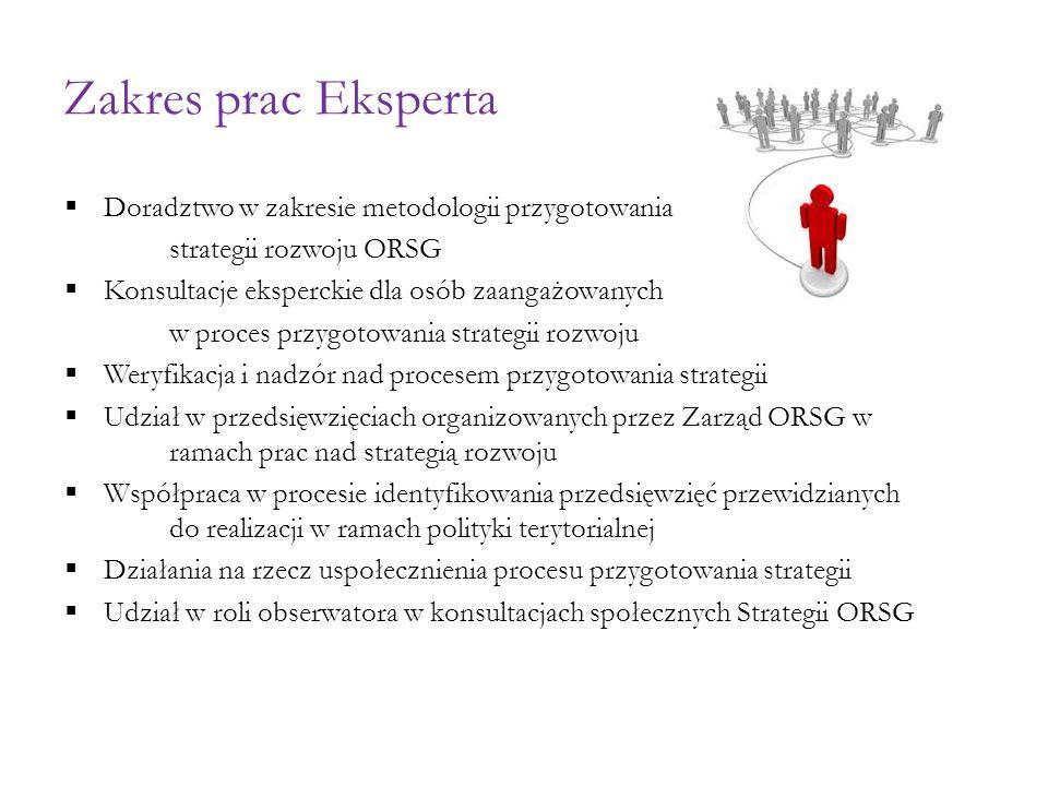 Zakres prac Eksperta  Doradztwo w zakresie metodologii przygotowania strategii rozwoju ORSG  Konsultacje eksperckie dla osób zaangażowanych w proces