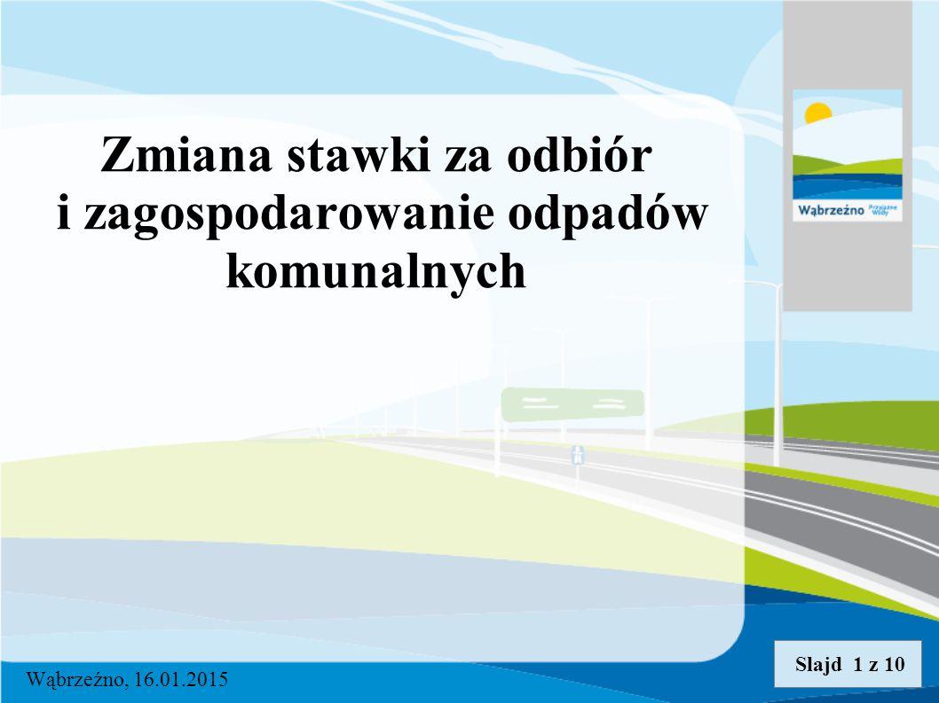 Zmiana stawki za odbiór i zagospodarowanie odpadów komunalnych Wąbrzeźno, 16.01.2015 Slajd 1 z 10