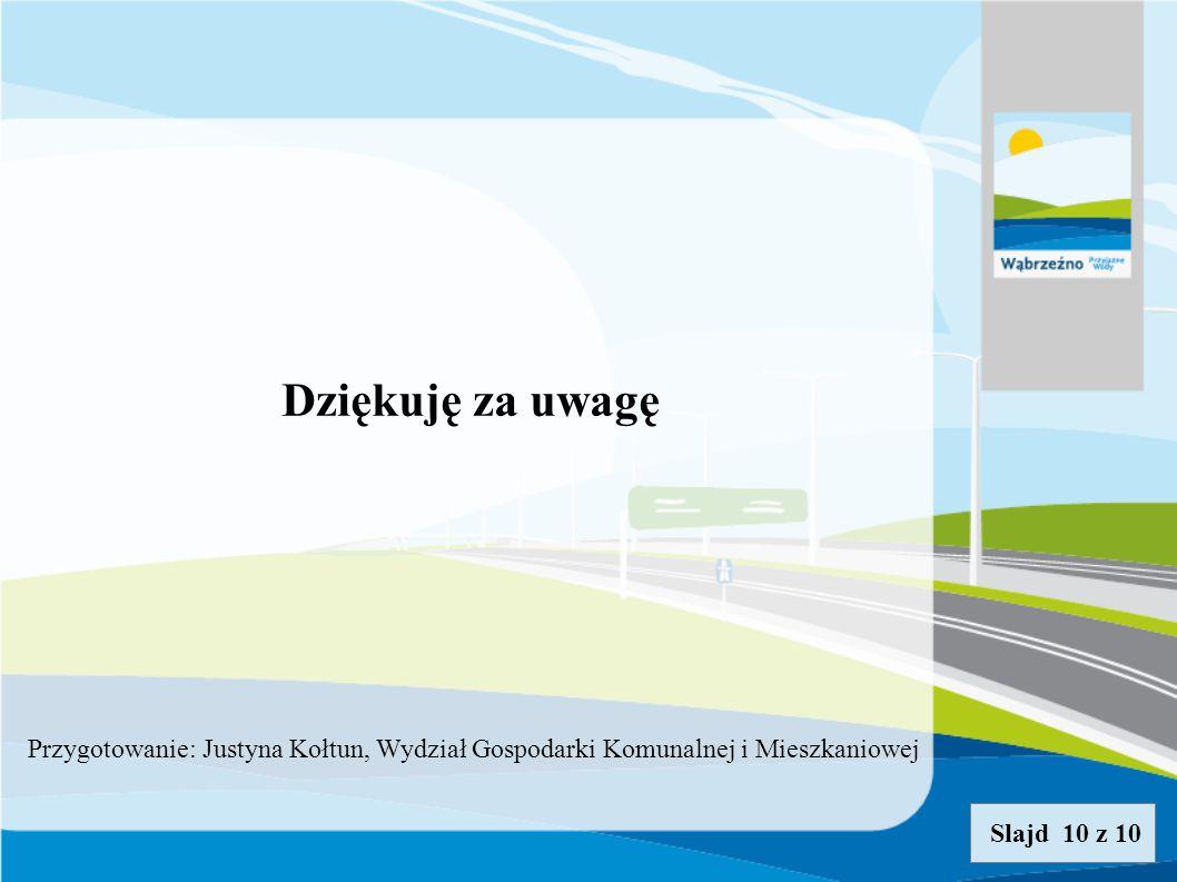 Dziękuję za uwagę Slajd 10 z 10 Przygotowanie: Justyna Kołtun, Wydział Gospodarki Komunalnej i Mieszkaniowej