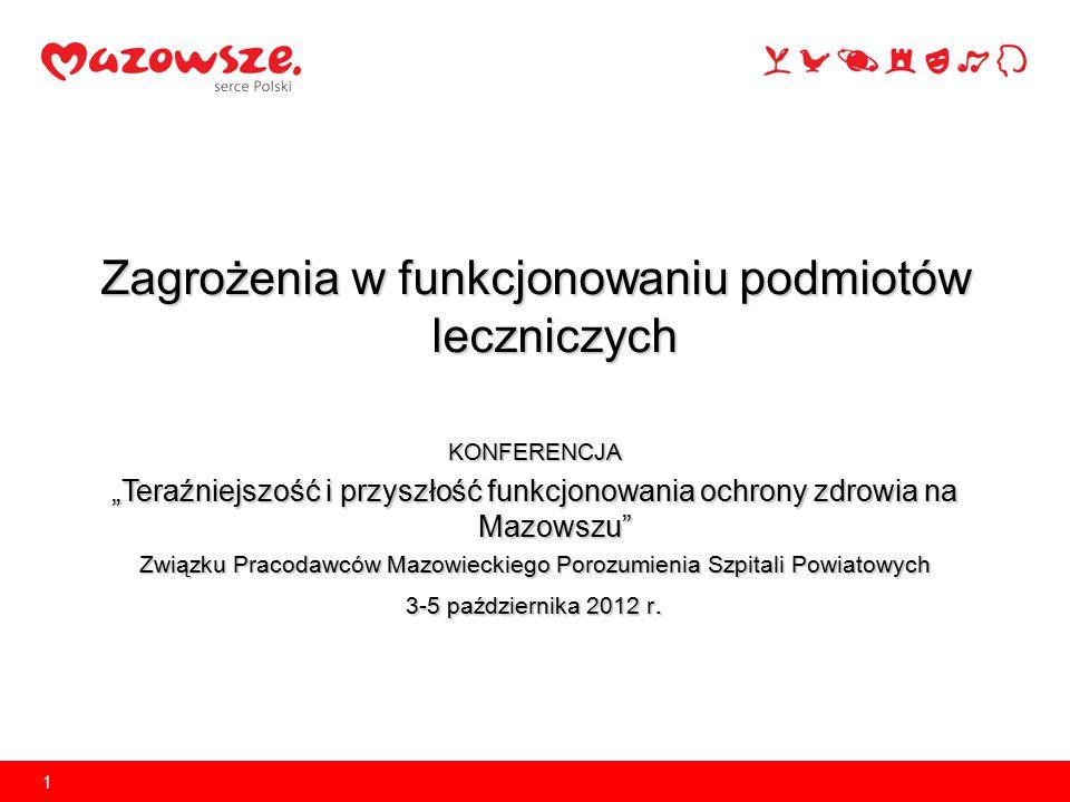 """Zagrożenia w funkcjonowaniu podmiotów leczniczych KONFERENCJA """"Teraźniejszość i przyszłość funkcjonowania ochrony zdrowia na Mazowszu"""" Związku Pracoda"""