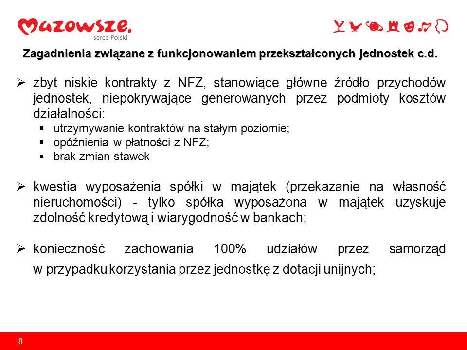Zagadnienia związane z funkcjonowaniem przekształconych jednostek c.d.  zbyt niskie kontrakty z NFZ, stanowiące główne źródło przychodów jednostek, n